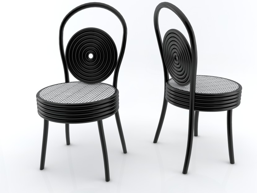sedia variante nera e bianca