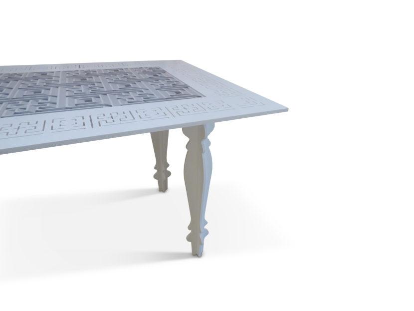 8.Tavolo Antica-Mente Sorelle Francescon Refin dettaglio piano e gamba
